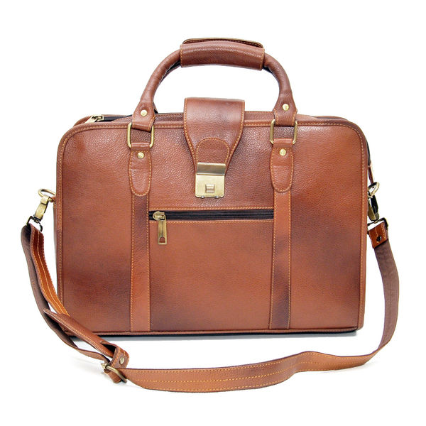 DOUBLE HANDLE TAN LEATHER LAPTOP BAG