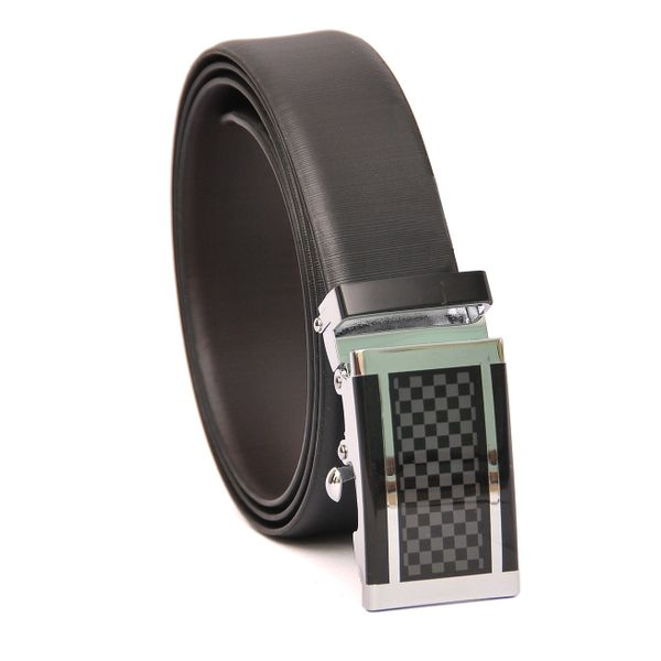 BUSINESS LEATHER BELT WITH EXQUISITE AUTO LOCK BUCKLE