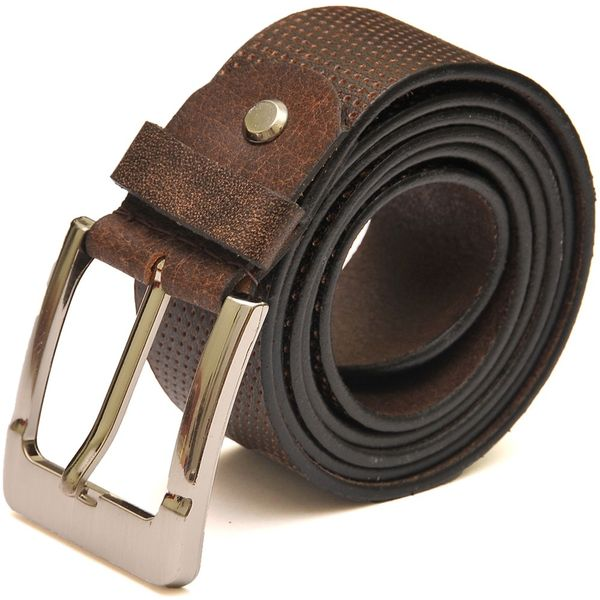 Brown Casual Leather Belt Dotted Design