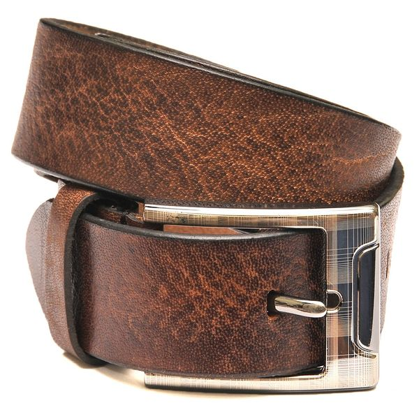 Tanned Leather Belt with Stylish Buckle