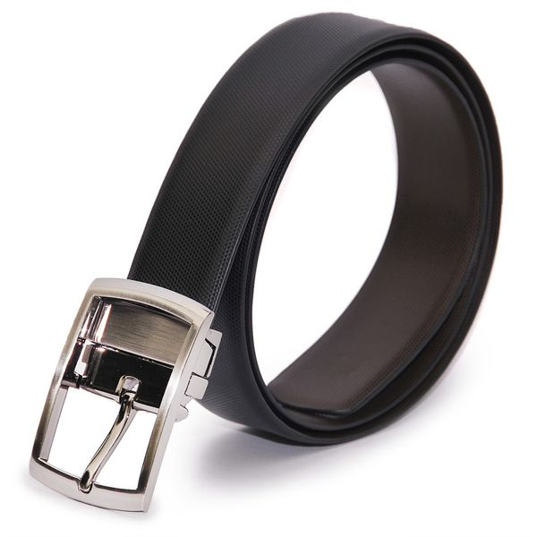 STYLISH BLACK BROWN REVERSIBLE LEATHER BELT WITH TURNING BUCKLE