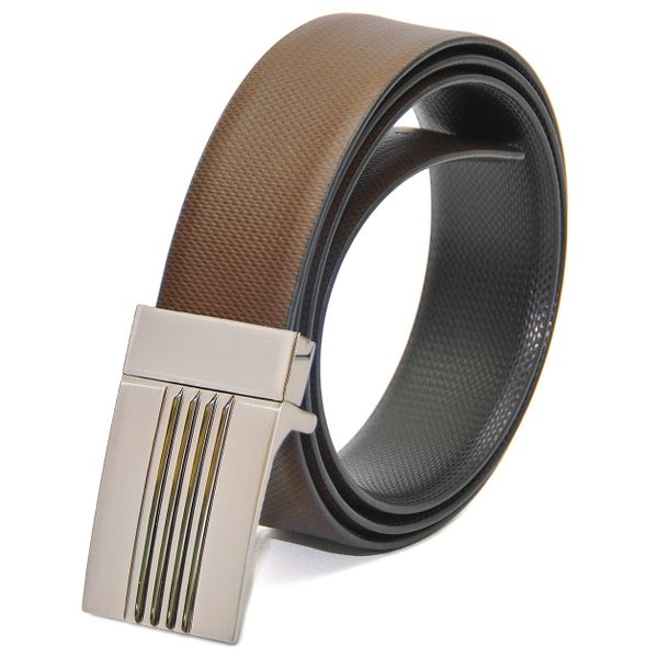 REVERSIBLE BLACK-BROWN LEATHER BELT WITH TURN BUCKLE