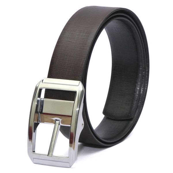 BALI ITALIAN REVERSIBLE LEATHER BELT CHROME FINISH REVOLVING BUCKLE