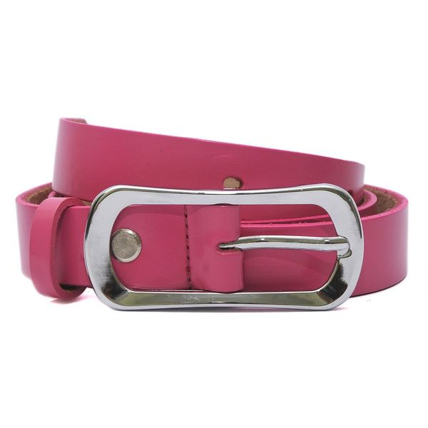 HIDEMARK LADIES LEATHER BELT CURVED BUCKLE - PINK