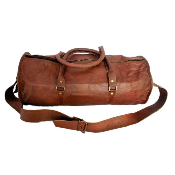 "RUSTICTOWN 20"" HANDMADE LEATHER ROUND DUFFEL BAG"