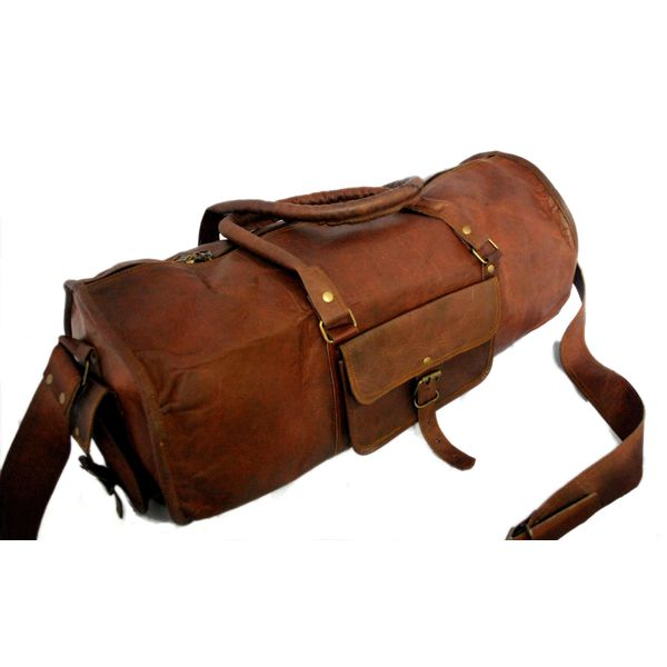 "RUSTICTOWN 24"" HANDMADE LEATHER ROUND DUFFEL BAG"