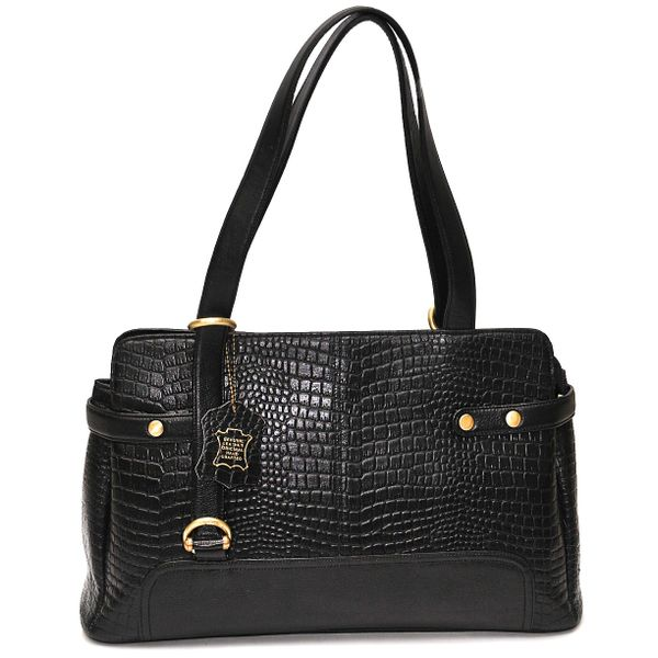HIDEMARK CROC PRINT BLACK LEATHER HANDBAG