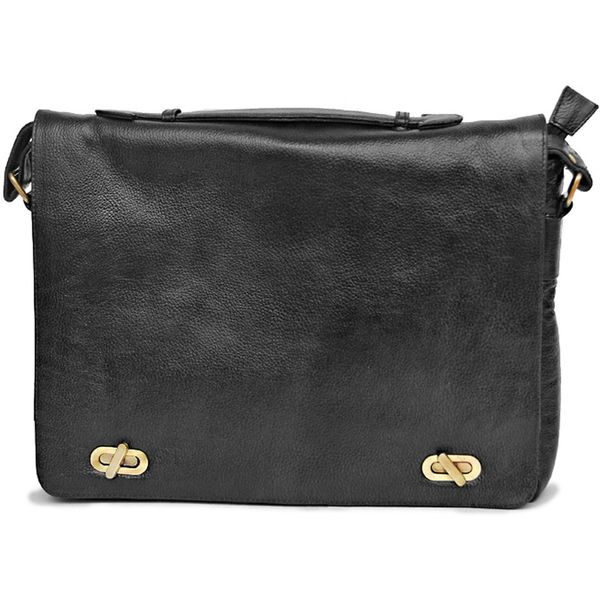 BLACK LEATHER MESSENGER LAPTOP BAG