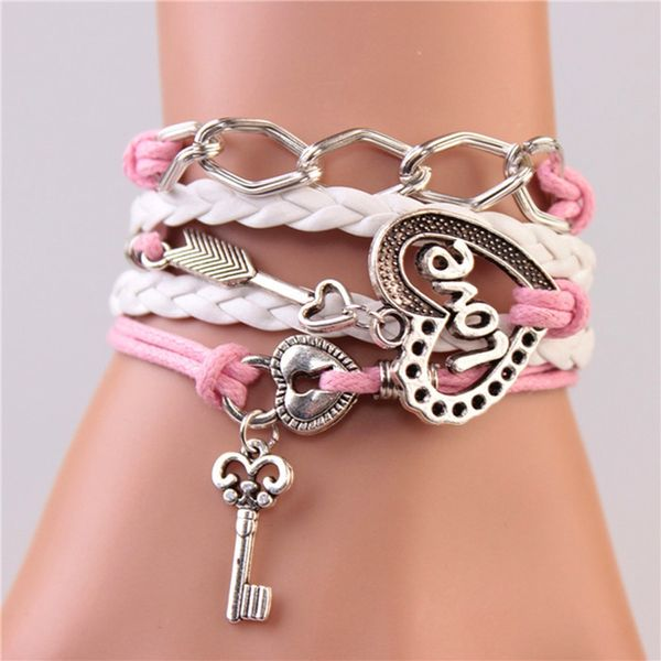 WOMEN'S GENUINE LEATHER BRACELET WITH CHARMS~LOVE WHITE