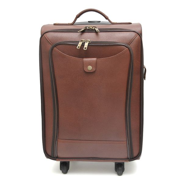 TAN BROWN LEATHER CABIN LUGGAGE WITH TROLLEY