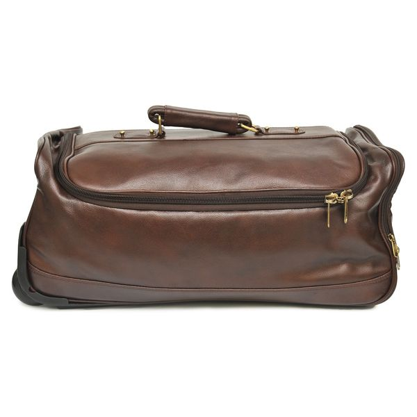 """BROWN LEATHER DUFFLE TROLLEY BAG 22"""""""