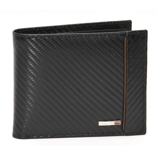 MUNROS BLACK CHECKERED PRINT ITALIAN LEATHER WALLET
