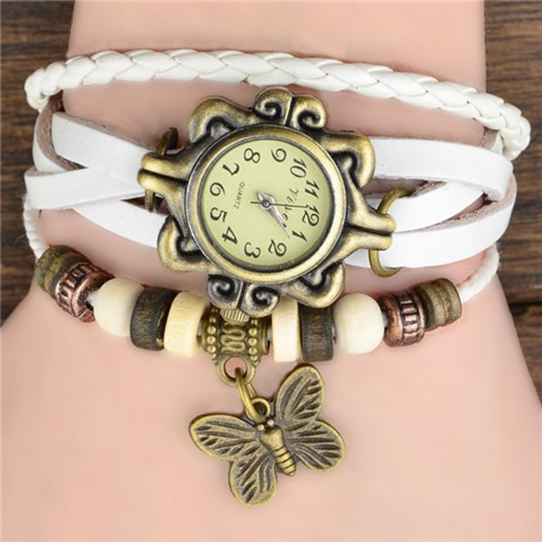 WOMEN'S GENUINE LEATHER VINTAGE WATCH BRACELET WITH BUTTERFLY CHARM