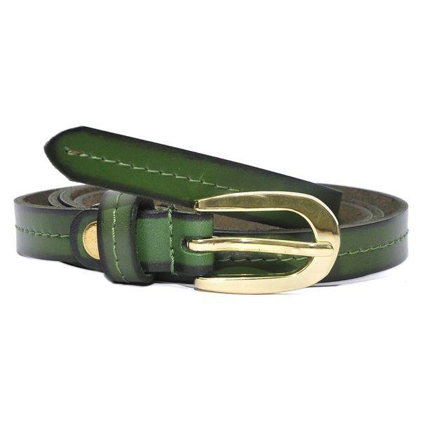 HIDEMARK VIPER GREEN SLIM LEATHER BELT FOR WOMEN WITH GOLDEN BUCKLE