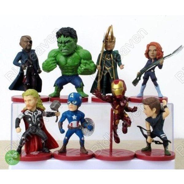 Avengers Iron Man Hulk Thor Loki Captain America Black Widow 8pcs Action Figure Set
