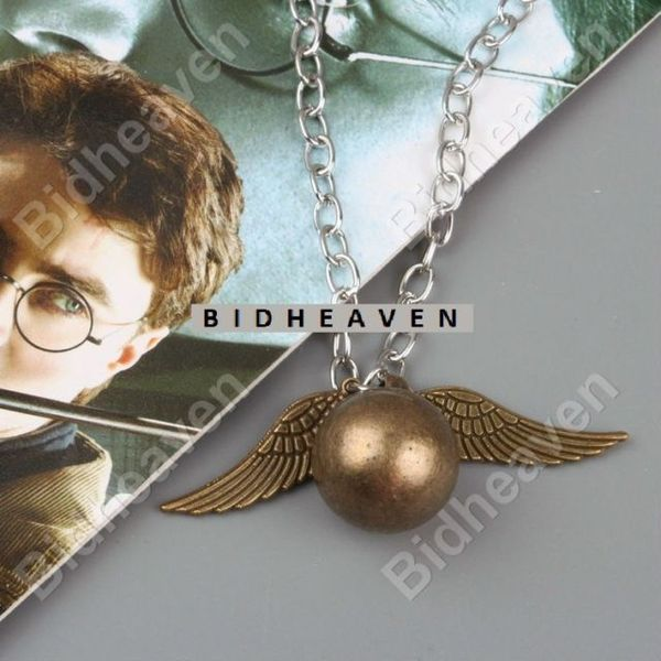 Harry Potter Quidditch Golden Snitch Wing Metal Necklace Pendant