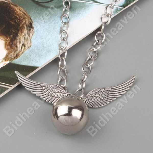 Harry Potter Quidditch Silver Snitch Wing Metal Necklace Pendant