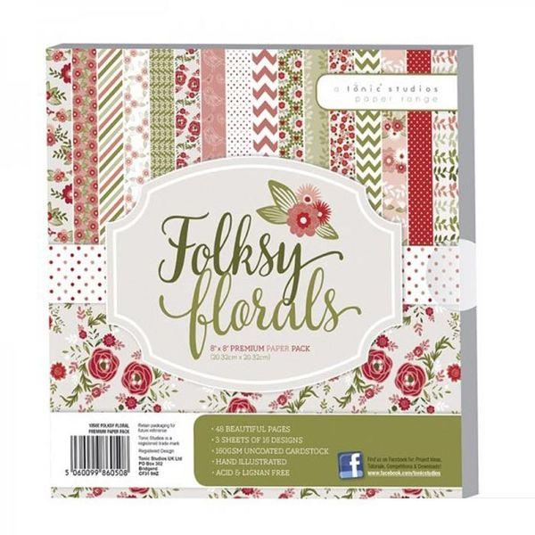 "Folksy Floral Premium Paper Pack 8"" x 8"""