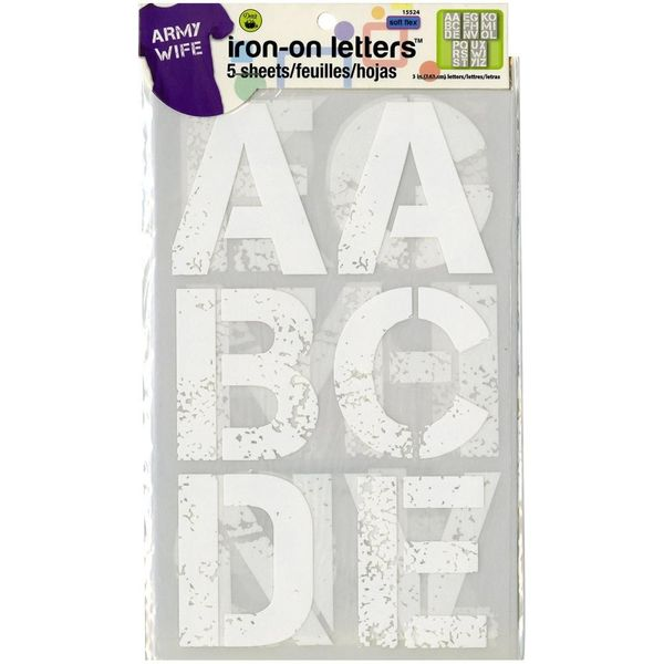 "White - Soft Flex Iron-On Letters 3"" Distressed"