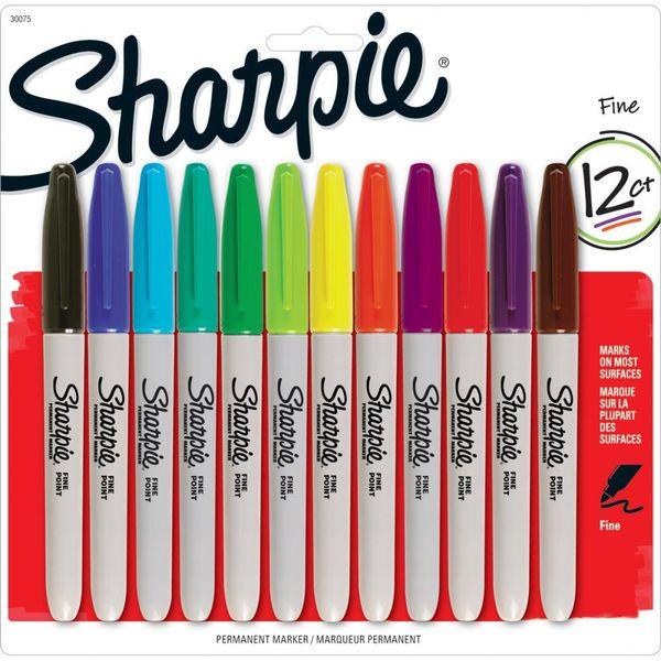 Sharpie Fine Point Permanent Markers 12/Pkg - Assorted Colors