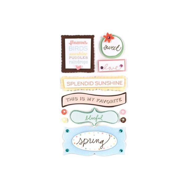 3 Dimensional Stickers with Glitter Accents - Feather Phrases