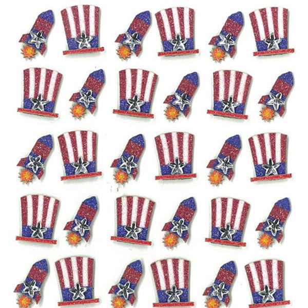 Patriotic Hats and Rockets Repeats 3D Stickers