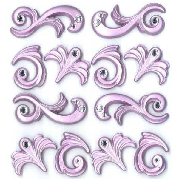 Purple Flourishes Cabochons Dimensional Stickers