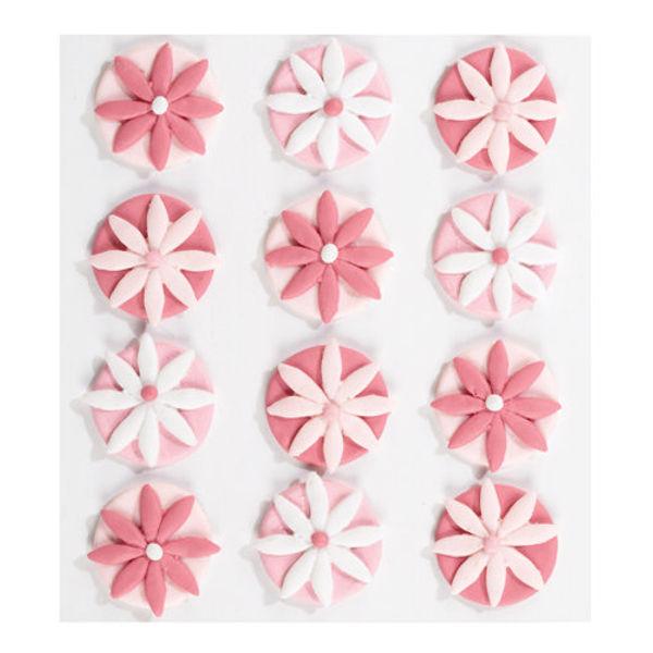 Pink Fondant Flowers 3D Stickers
