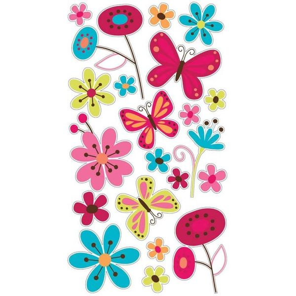 Butterfly Garden Glitter Sticker