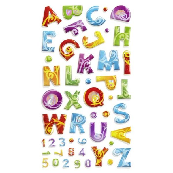 Colorful Flourish Puffy Alphabet Stickers