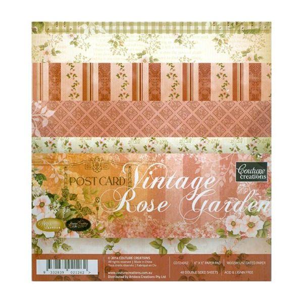 """Vintage Rose Garden 6"""" X 6"""""""