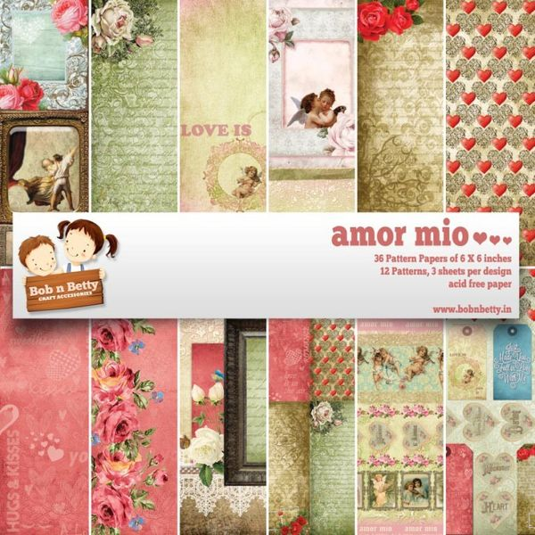 "Amor Mio Paper Pack 6""X6"", 36/pkg"
