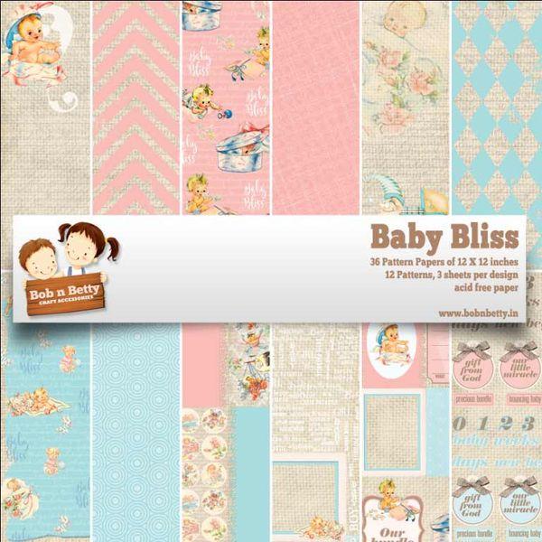 """Baby Bliss Paper Pack 12""""x12"""", 36/pkg"""
