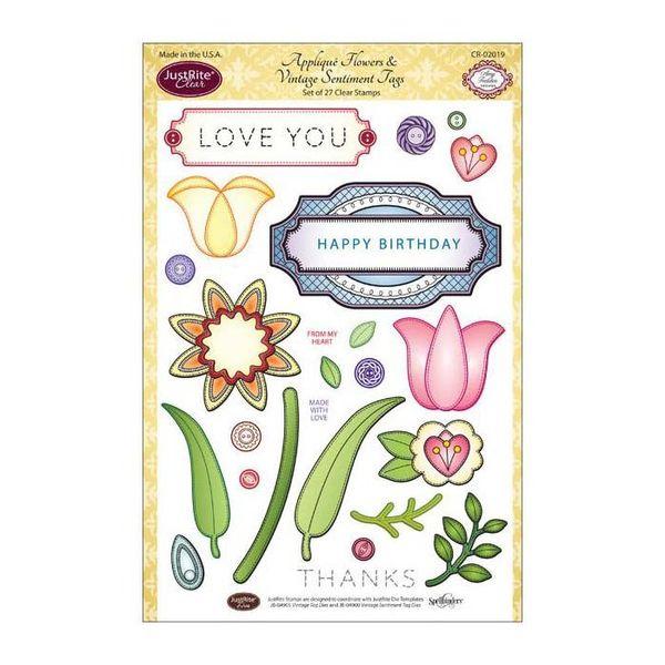 Applique Flowers & Vintage Tag Sentiment