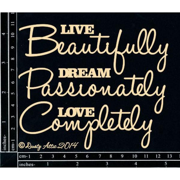 Live Beautifully... - Chipboard Cutouts