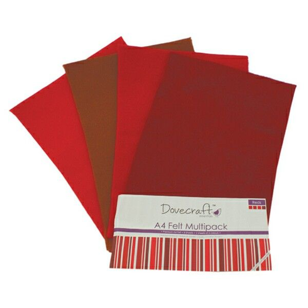 Red Felt Sheets A4 Multipack