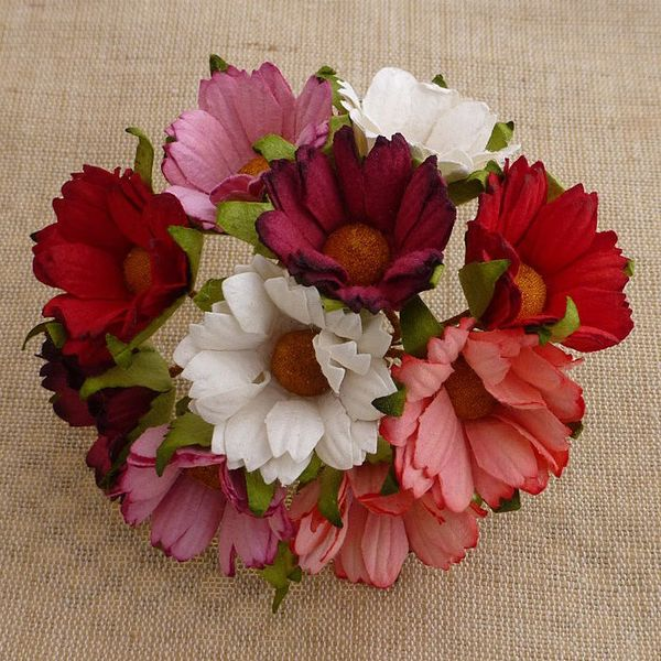 RED/PINK & WHITE - Mulberry Daisy Flower Combo