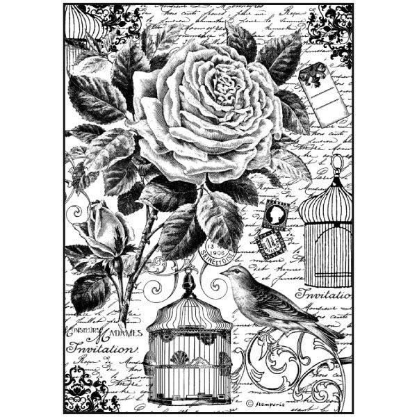 Bird Cage-Decoupage Rice Paper