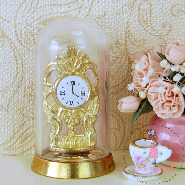Miniature Antique Clock with Glass