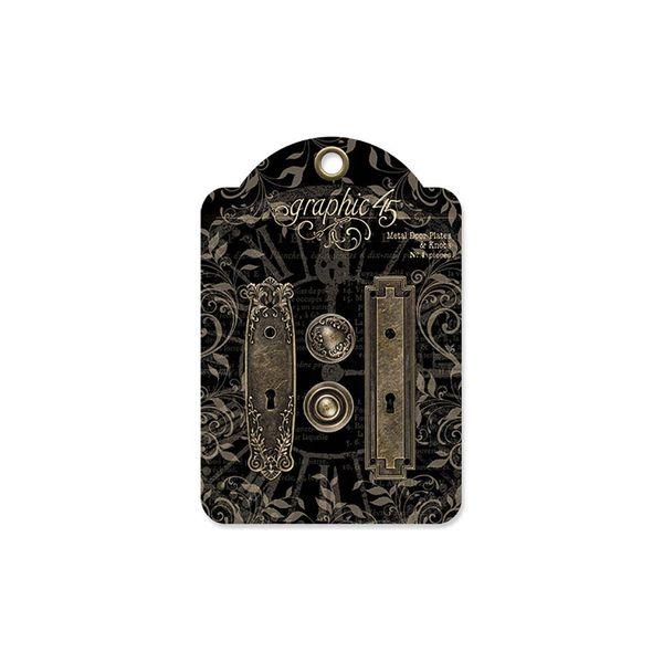 Antique Brass-Staples Metal Door Plates W/Knobs 2 Sets
