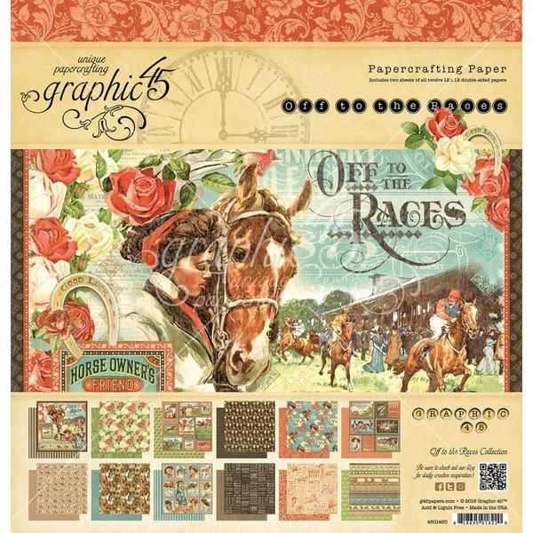 "Off To The Races - Paper Pad 12""X12"" 24/Pkg"
