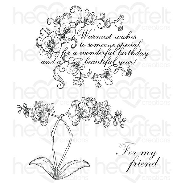 Botanic Orchid Wishes - Stamp