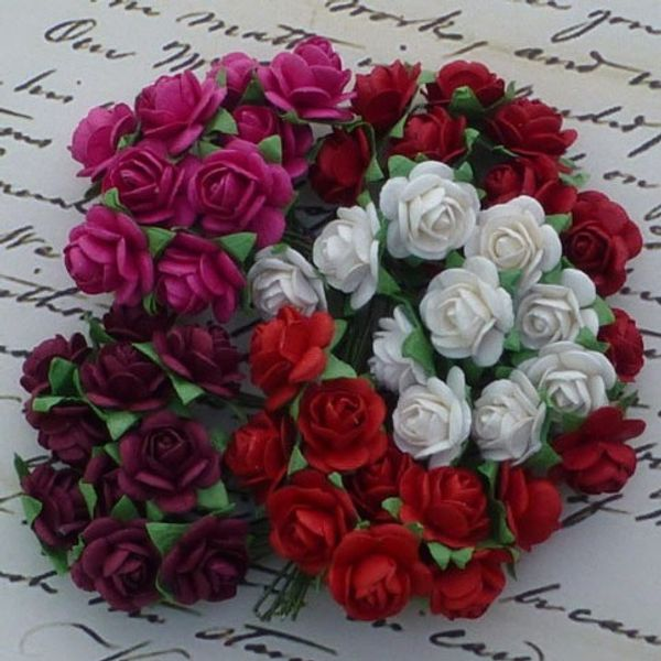 RED TONE WHITE AND FUSCIA PINK - Micro Roses Combo