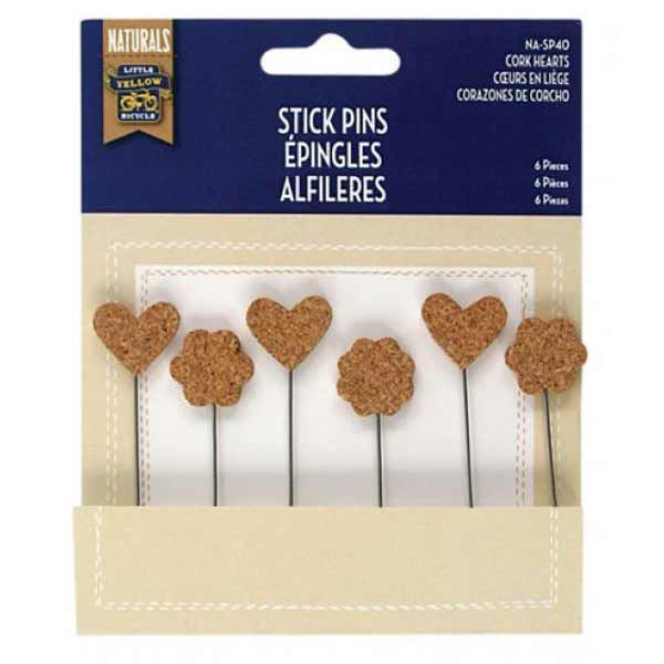 Cork Hearts - Stick Pins