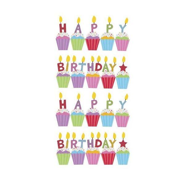 Birthday Cakes Glitter Classic Stickers