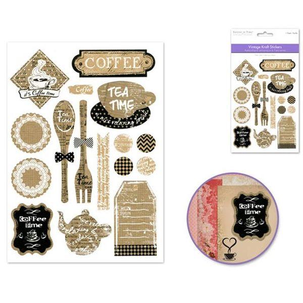 Vintage Kraft Sticker - Coffee Time