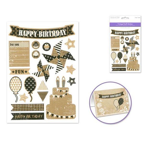 Vintage Kraft Sticker - Happy Birthday