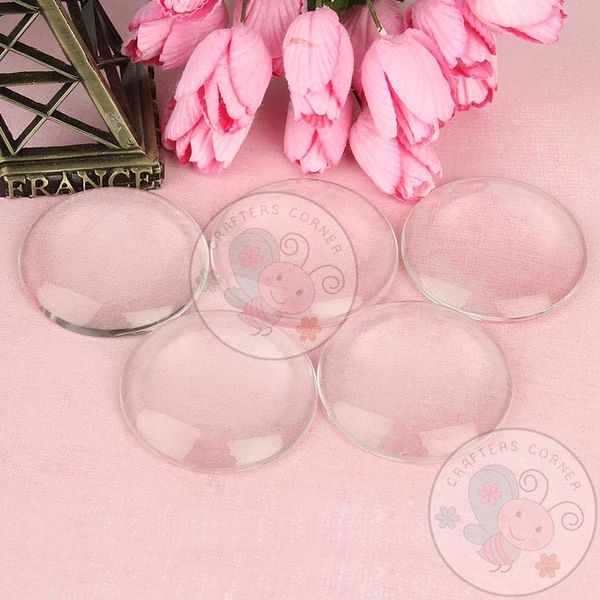 Clear Glass Round Cabochons No 14