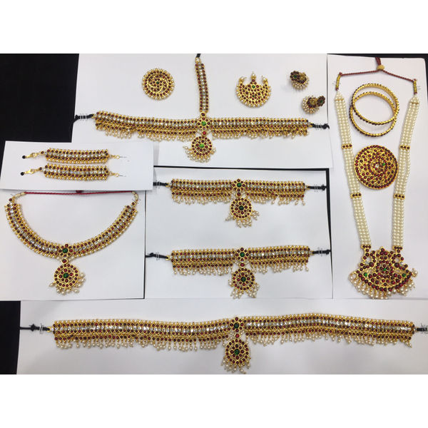 86ada6e375e Bharatnatyam Complet Dance Temple Jewellery Head Set Mango Design with Sun  Moon