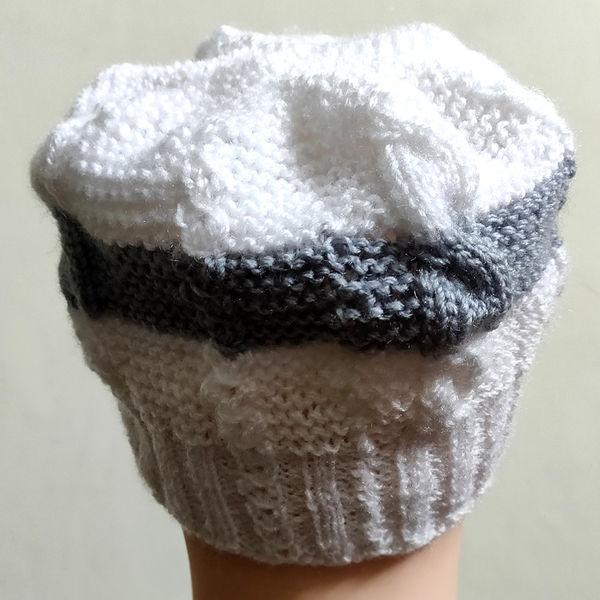 3f47251775e Leme Unisex Hand-Knitted Woolen Cap (White   Grey